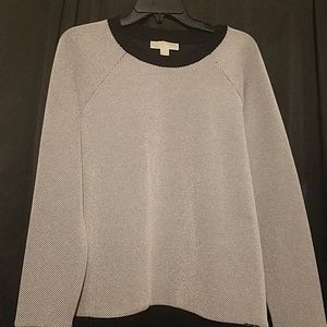 Michael Kors Light Gray and Black Pullover Sweater